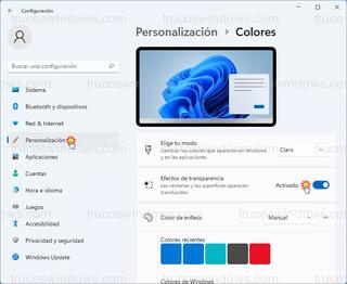 Personalización - Colores > Efectos de transparencia