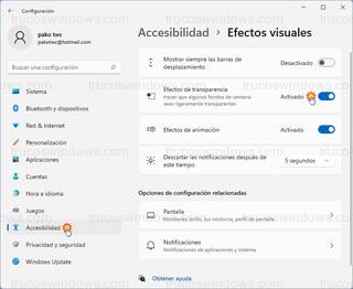 Accesibilidad - Efectos visuales > Efectos de transparencia