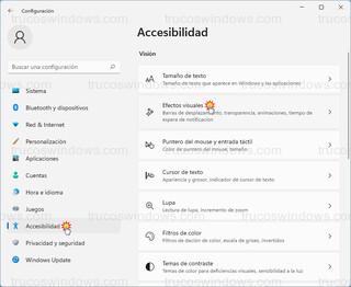 Accesibilidad - Efectos visuales