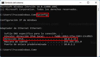 ipconfig - CMD > Dirección IPv4