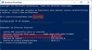 ipconfig - PowerShell > Dirección IPv4