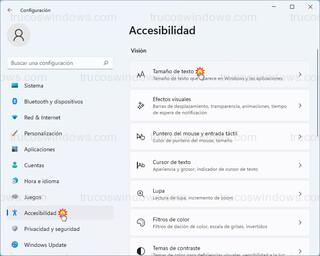 Accesibilidad - Tamaño de texto
