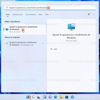 Windows 11 - Ajustar la apariencia y rendimiento de Windows