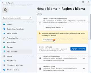 Hora e idioma > Región e idioma - Cerrar sesión