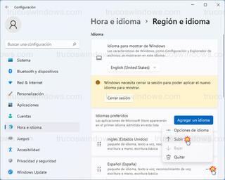 Hora e idioma > Región e idioma - Ordenar idiomas preferidos