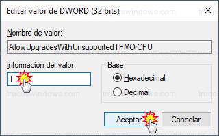 Editor del registro - Editar valor