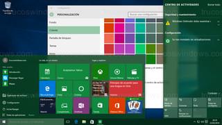 Windows 10 - Botón Inicio - Barra de tareas - Centro de actividades