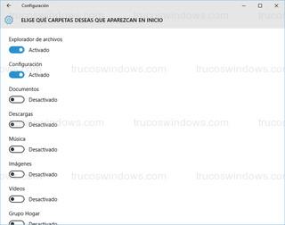 Windows 10 - Carpetas del menú inicio