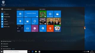 Windows 10 - Menú de inicio ajuste horizontal máximo