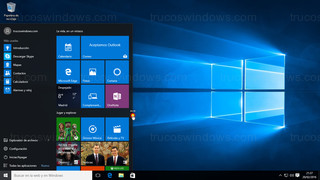 Windows 10 - Menú de inicio ajuste horizontal mínimo