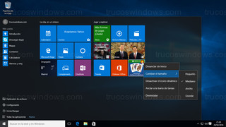 Windows 10 - Menú de inicio opciones baldosa