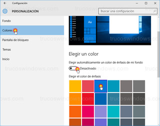 Windows 10 - Personalización - color de fondo