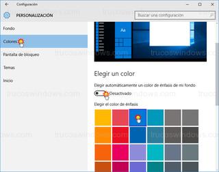 Windows 10 - Personalización - color de fondo
