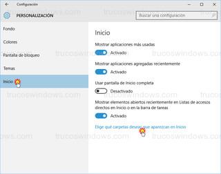 Windows 10 - Personalización - inicio - carpetas