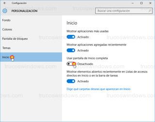 Windows 10 - Personalización - inicio - pantalla completa