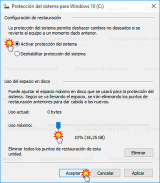 Windows 10 - Activar protección del sistema