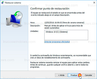 Windows 10 - Confirmar punto de restauración