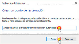 Windows 10 - Descripción punto de restauración