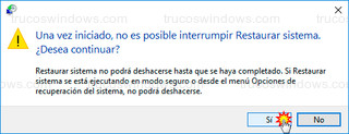Windows 10 - No es posible interrumpir restaurar sistema