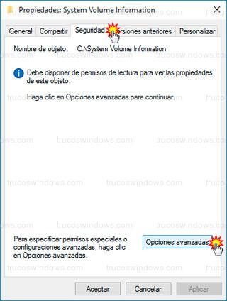 Windows 10 - Opciones avanzadas (seguridad)