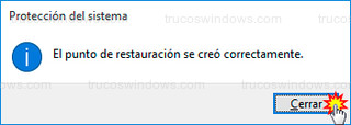 Windows 10 - Punto de restauración creado