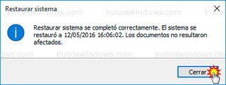 Windows 10 - Restaurar sistema se completó correctamente
