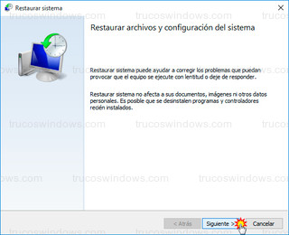 Windows 10 - Restaurar sistema Wizard