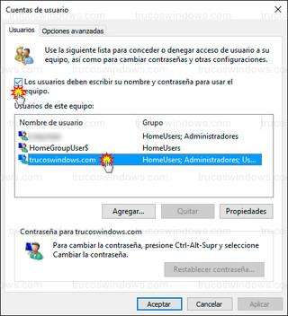 Windows 10 - Deshabilitar pedir contraseña