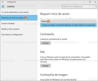 Windows 10 - Opciones de inicio de sesión > Requerir inicio de sesión