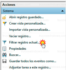 Windows 10 - Filtrar registros del sistema