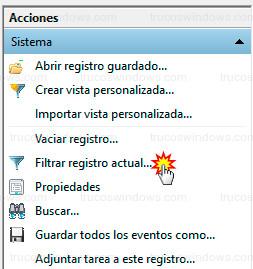 Windows 10 - Filtrar registros del sistema
