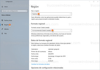 Windows 10 - Formato regional