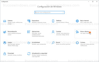 Configuracion de Windows 10 - Hora e idioma