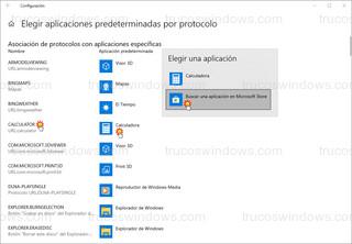 Windows 10 - Elegir aplicaciones predeterminadas por protocolo