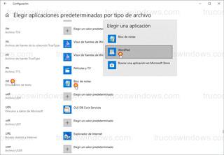 Windows 10 - Elegir aplicaciones predeterminadas por tipo de archivo