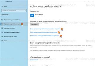 Windows 10 - Aplicaciones predeterminadas