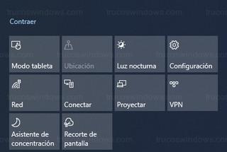 Windows 10 - Acciones rápidas del centro de actividades