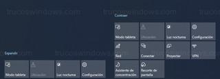 Windows 10 - Expandir/Contraer acciones rápidas