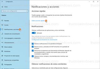 Windows 10 - Notificaciones y acciones > Editar acciones rápidas