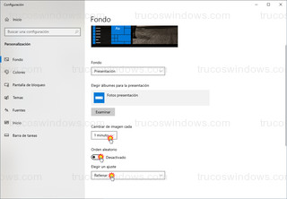 Windows 10 - Opciones de configuración para el modo presentación