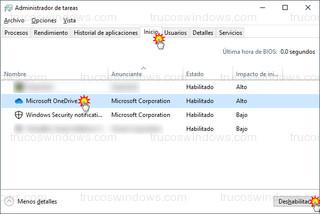 Windows 10 - Administrador de tareas > Inicio
