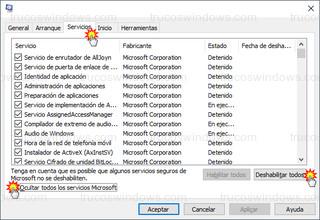 Windows 10 - Configuración del sistema > Servicios