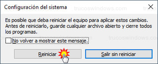 Windows 10 - Reiniciar el equipo