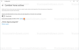Windows 10 - Cambiar horas activas actuales
