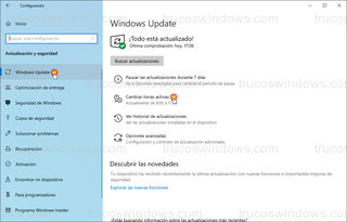 Windows Update - Cambiar horas activas