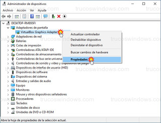 Administrador de dispositivos - Propiedades del adaptador de pantalla