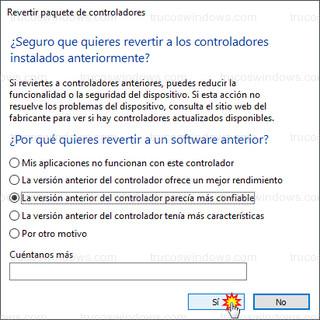 Revertir paquete de controladores - Revertir a los controladores instalados anteriormente