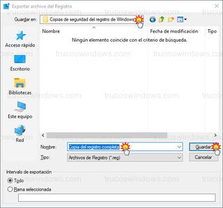 Exportar archivo del Registro - Copia del registro completa