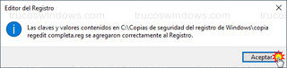 Editor del Registro - Copia de seguridad restaurada correctamente
