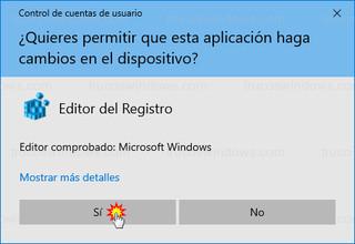 Control de cuentas de usuario - Editor del registro
